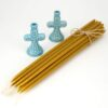 Set of Ceramic Candle Holders and Beeswax Candles