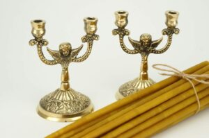 Set of Double Brass Byzantine Candle Holders and Beeswax Candles