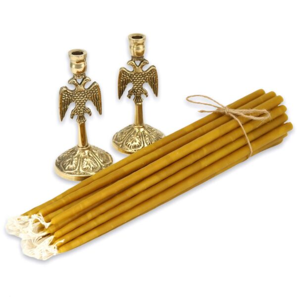 Set of Eagle Design Brass Candle Holders and Beeswax Candles