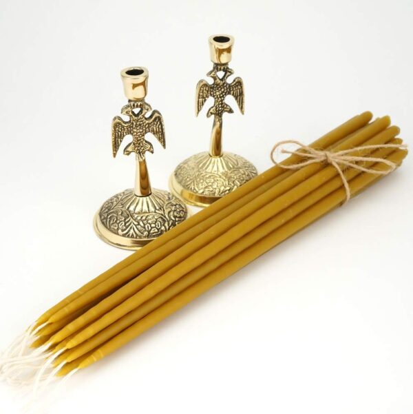 Set of Eagle Design Candle Holders and Beeswax Church Candles