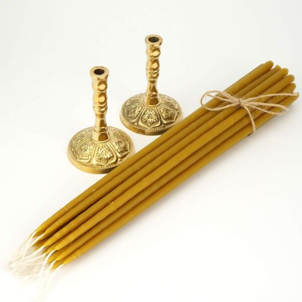 Set of Single Brass Candle Holders and Beeswax Church Candles