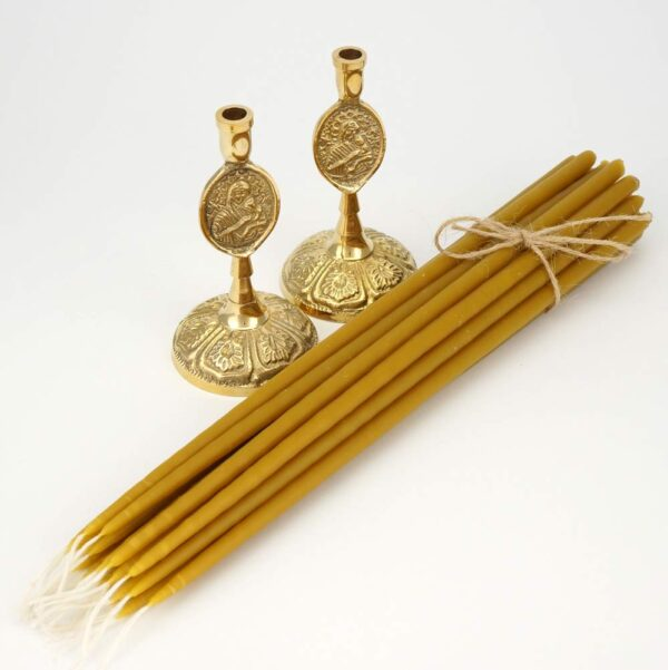 Set of Theotokos Brass Byzantine Candle Holders and Beeswax Church Candles