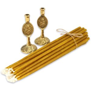 Set of Theotokos Brass Candle Holders and Beeswax Candles