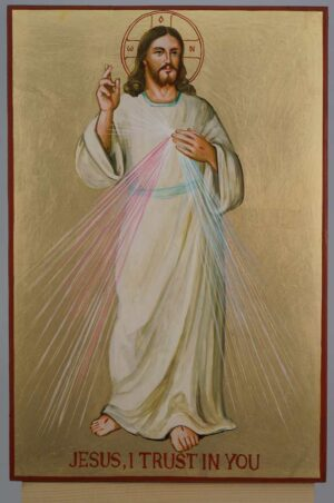 Christ Divine Mercy Icon Hand Painted Roman Catholic