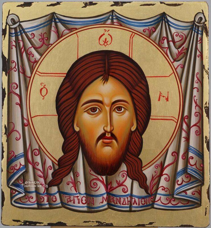 Christ Holy Face Mandylion Icon Hand Painted Byzantine Orthodox
