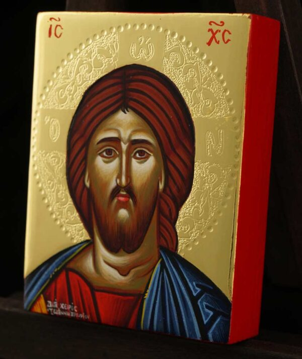 Christ Pantocrator Icon polished gold miniature Orthodox Hand Painted
