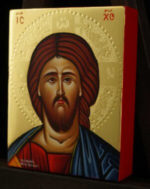 Christ Pantocrator polished gold miniature Icon Hand Painted Byzantine Orthodox