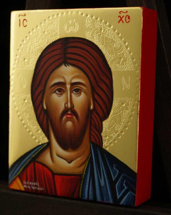 Christ Pantocrator polished gold miniature Icon Hand Painted Byzantine Orthodox