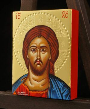 Christ Pantocrator polished gold miniature Icon Hand Painted Greek Orthodox