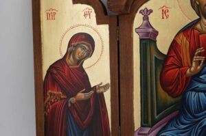 Deesis Hand Painted Triptych Icon Byzantine Orthodox