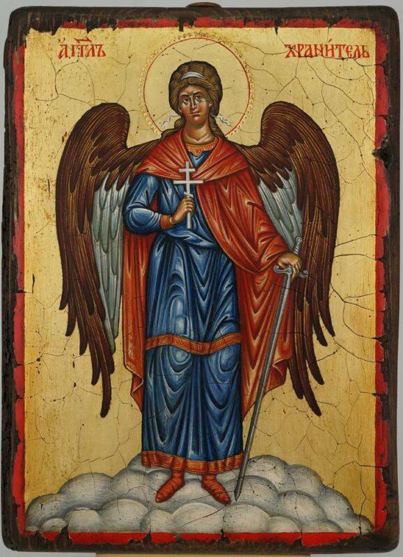 Guardian Angel Icon Hand Painted Byzantine Orthodox on Wood