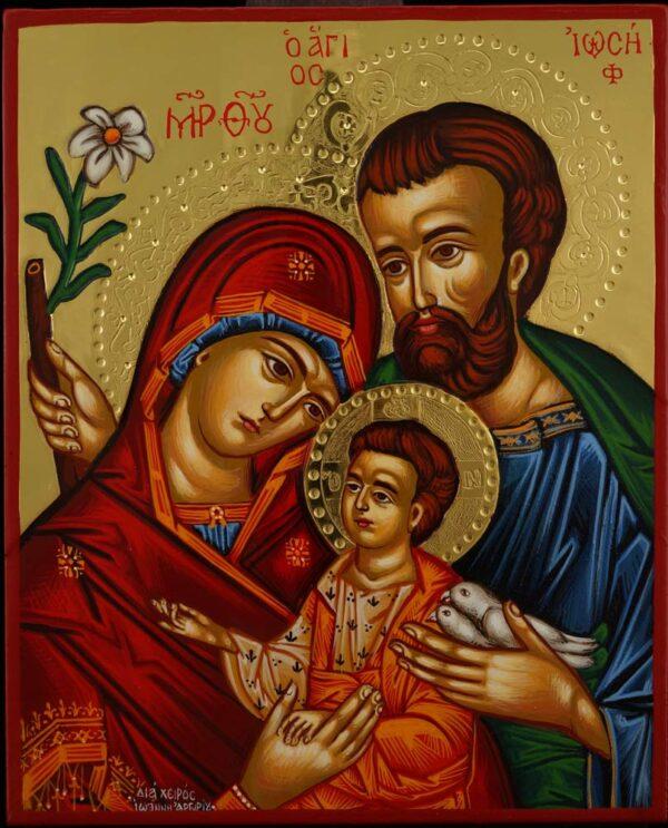 Holy Family Icon polished gold Hand Painted Greek Orthodox Byzantine