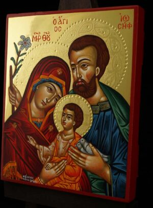 Holy Family polished gold Icon Hand Painted Byzantine Orthodox