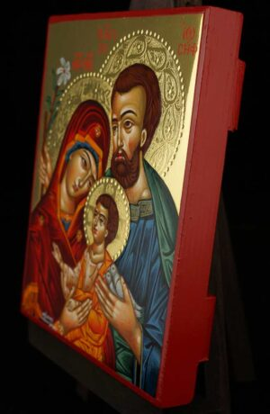 Holy Family polished gold Icon Hand Painted Byzantine Orthodox