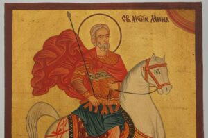 Holy Great Martyr Menas of Egypt Icon Hand Painted Byzantine Orthodox