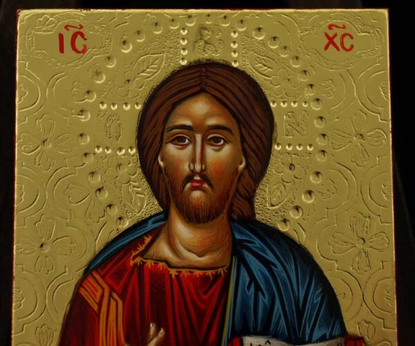 Jesus Christ Pantocrator polished gold miniature Icon Hand Painted Byzantine Orthodox
