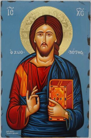 Jesus Christ Pantokrator polished gold halo Icon Hand Painted Byzantine Orthodox
