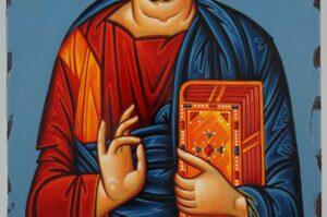 Jesus Christ Pantokrator polished gold halo Icon Hand Painted Byzantine Orthodox
