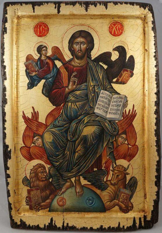 Jesus Christ in His Glory Hand Painted Byzantine Icon Cretan