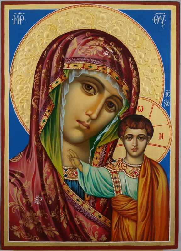 Kazan Mother of God Icon decorated halo Hand Painted Byzantine Orthodox