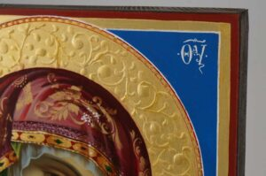 Kazan Mother of God Icon decorated halo Hand Painted Byzantine Orthodox