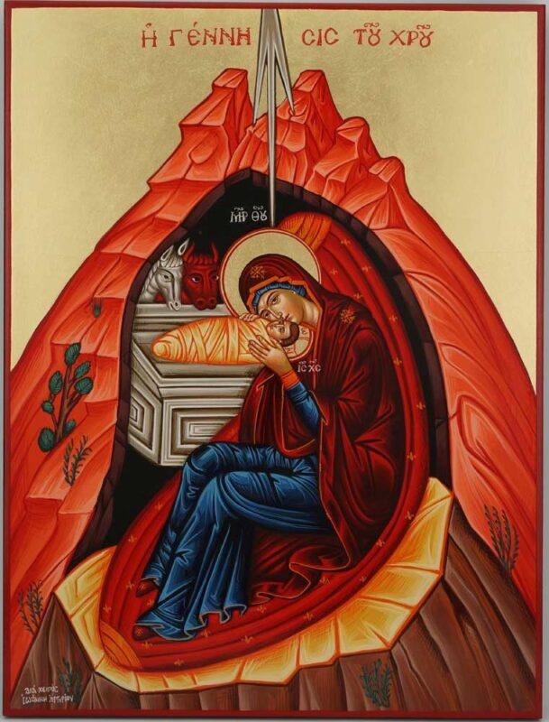 Nativity of Christ Icon Hand Painted Byzantine Orthodox