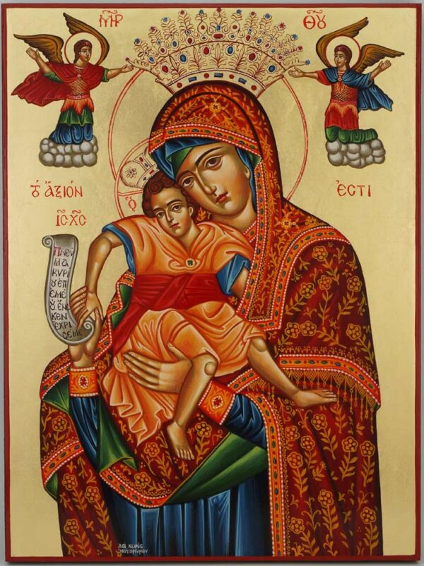 Panagia Axion Estin Icon Hand Painted Greek Byzantine Orthodox
