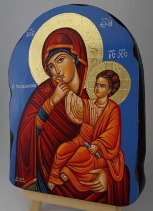 Panagia Paramythea polished gold halos Icon Hand Painted Byzantine Orthodox