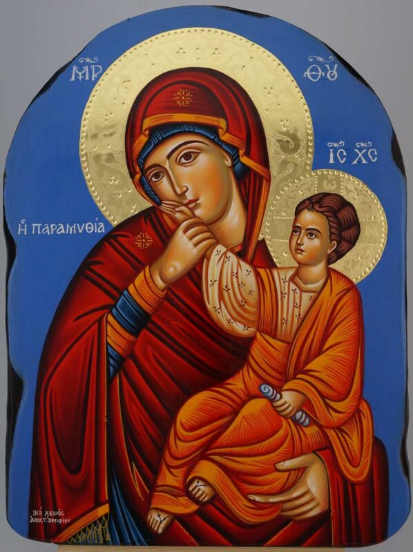 Panagia Paramythea polished gold halos Icon Hand Painted Byzantine Orthodox