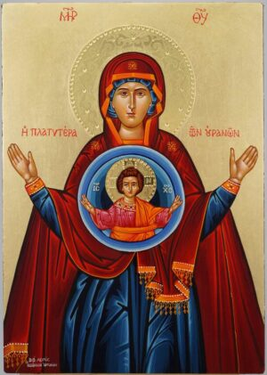 Panagia Platytera Icon Hand Painted Byzantine Orthodox