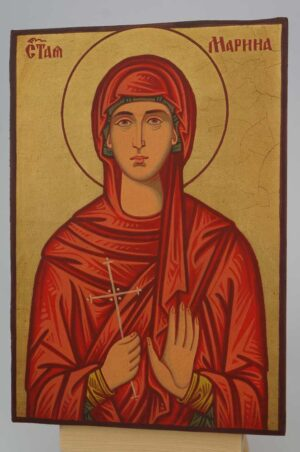 Saint Marina small Icon Hand Painted Byzantine Orthodox
