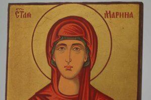 Saint Marina small Icon Hand Painted Byzantine Orthodox