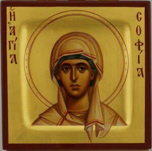 Saint Sophia the Martyr miniature Icon Hand Painted Byzantine Orthodox