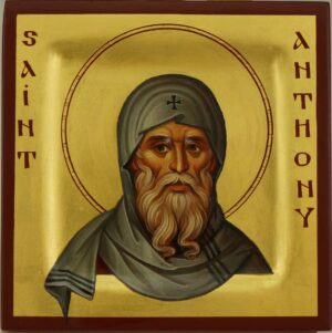 St Anthony the Great Miniature Icon Hand Painted Byzantine Orthodox