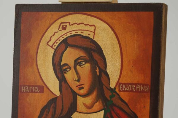 St Catherine of the Wheel Icon Hand Painted Byzantine Orthodox