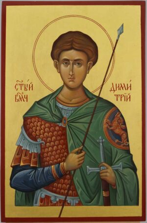 St Dimitrios of Thessaloniki Icon Hand Painted Greek Orthodox