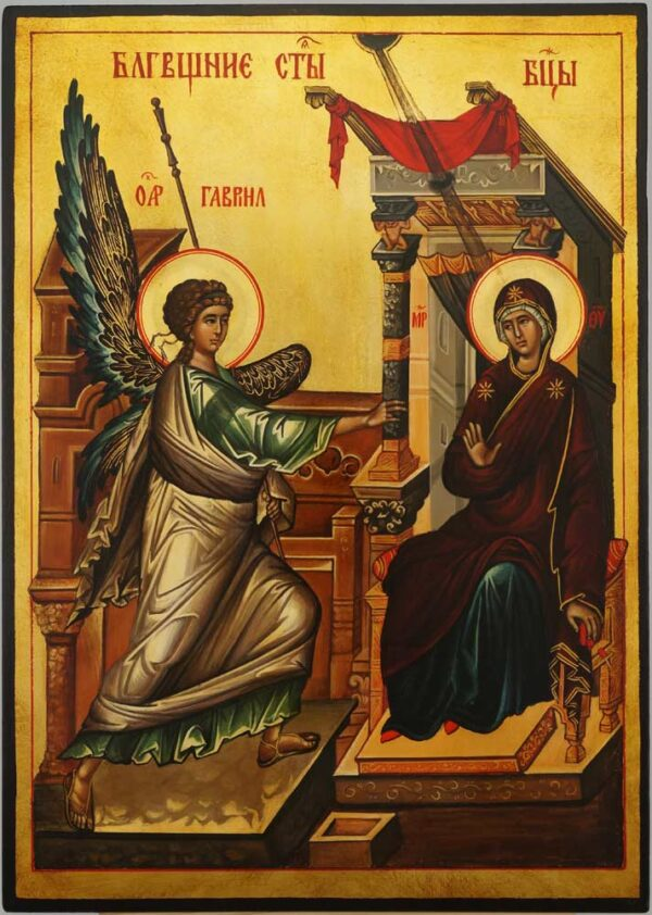 The Annunciation Icon Hand Painted Byzantine Orthodox