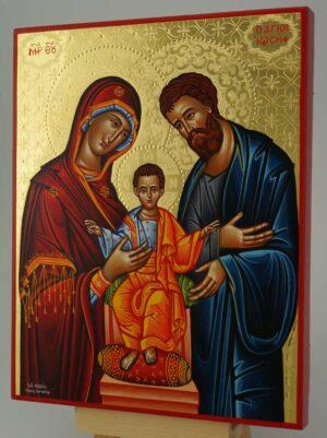 The Holy Family polished gold Icon Hand Painted Greek Orthodox Byzantine