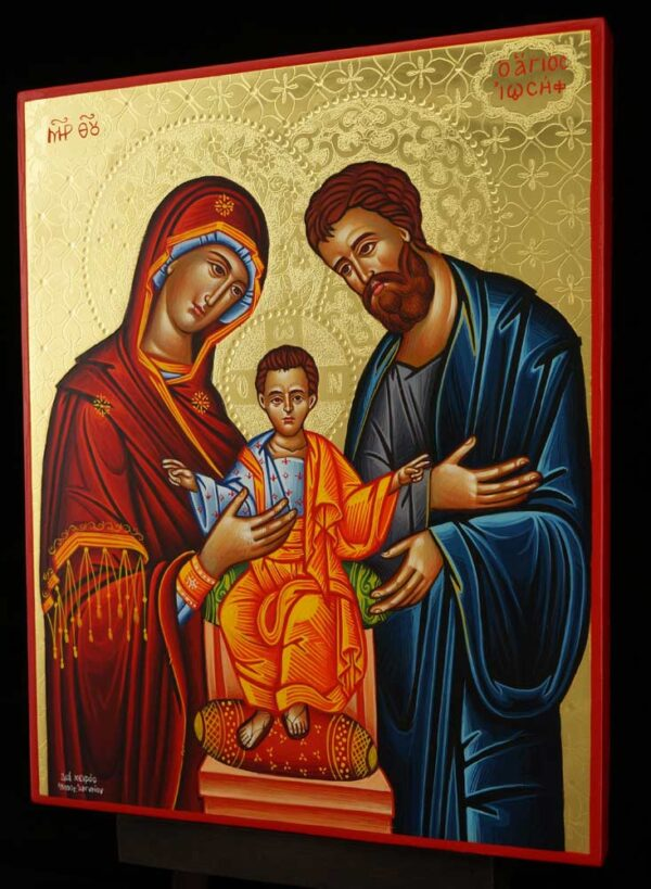 The Holy Family polished gold Icon Hand Painted Greek Orthodox Byzantine