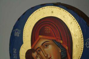 Theotokos Eleusa Round Icon Hand Painted Byzantine Orthodox