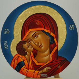Theotokos Eleusa Round Icon Hand Painted Orthodox
