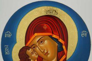 Theotokos Eleusa Round Icon Hand Painted Orthodox