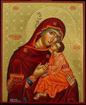 Theotokos Glykophilousa polished gold Icon Hand Painted Byzantine Orthodox