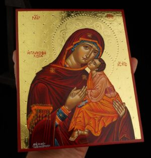 Theotokos Glykophilousa polished gold Icon Hand Painted Byzantine Orthodox