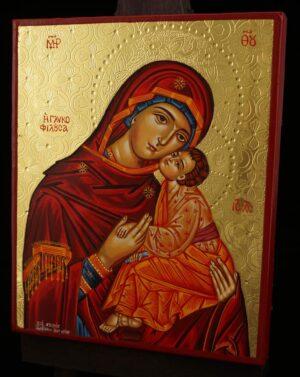 Theotokos Glykophilousa polished gold Icon Hand Painted Greek Orthodox
