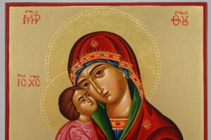Theotokos Glykophilousa polished gold halos