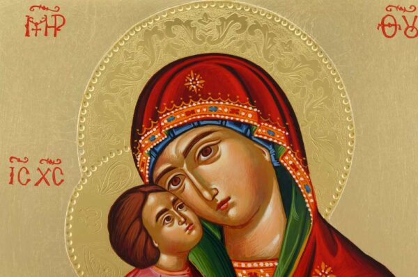 Theotokos Glykophilousa polished gold halos