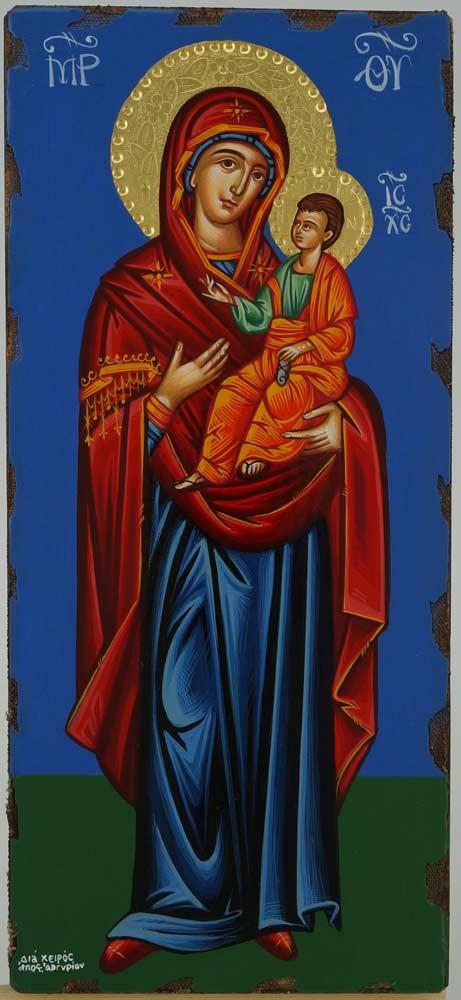 Theotokos Hodegetria Icon Hand Painted Greek Orthodox Buzantine