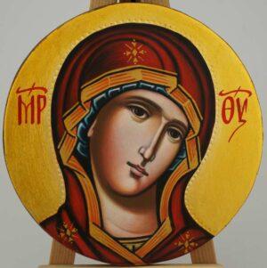 Theotokos Round Icon Hand Painted Byzantine Orthodox