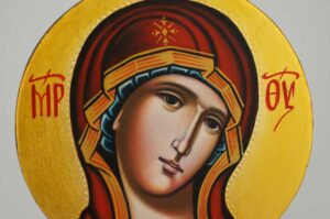 Theotokos Round Icon Hand Painted Byzantine Orthodox